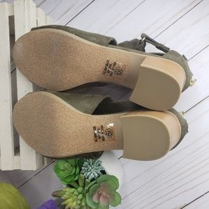 Cityclassified Shoes - CityClassified Olive Green Peep Toe Open Booties